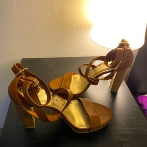 Brash Brown Ankle Strap Platform Sandals Size: 11
